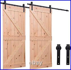 10FT/304cm Sliding Barn Wood Door Hardware Closet Track Kit Single Door, Black J