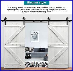 10FT Black Barn Door Hardware, Closet Track Kit Sliding Track Rail Carbon Steel