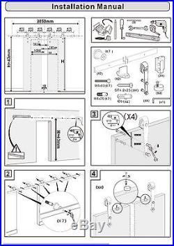 10FT Black Double Wood Door Hardware Sliding Rolling Barn Closet Track Kit Set