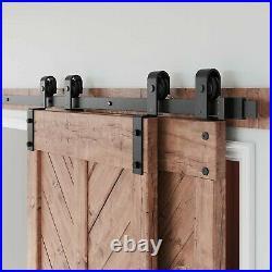 10FT Bypass Sliding Barn Door Hardware Kit Double Door 10 Feet