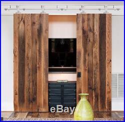 10FT Modern Satin Stainless Steel Double Sliding Barn Wooden Door Hardware Set