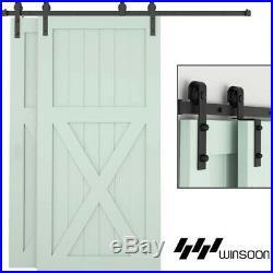 10FT Single Track Bypass Sliding Barn Door Hardware Kit Low Ceiling For 2 Doors
