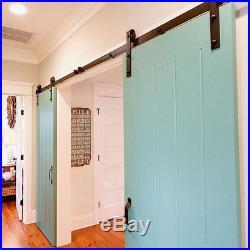 10FT Sliding Barn Door Hardware Double Doors Track Hangers Kit J Shape (3.05m)