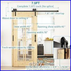 10 FT Barn Sliding Door Hardware Single Bypass Black Track Kit For Double Door
