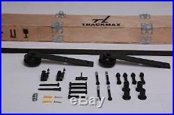 10 FT Black Double Wood Door Hardware Sliding Rolling Barn Closet Track Kit Set