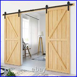 10ft Heavy Duty Sturdy Sliding Barn Door Hardware Kit Double Door Smoothly and