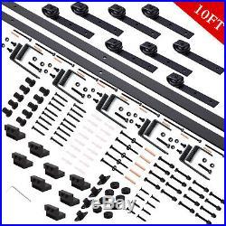 110FT Rustic Bypass Sliding Barn Wood 4 Doors Hardware Track Kit