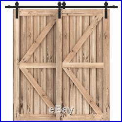 11FT Single Track Bypass Sliding Barn Door Hardware Kit Low Ceiling For 2 Doors
