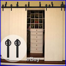 11FT Spoke Bypass 4 Doors Sliding Barn Door Hardware Big Black Wheel Track Kit