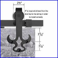 12FT/144'' Heavy Duty Sliding Barn Door Hardware Kit Bull Head Shape Hanger