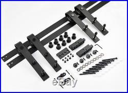 12FT Bent Straight Black Double Sliding Barn Wood Closet Door Track Hardware