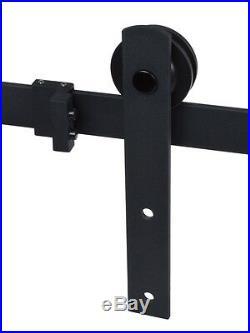 12FT Black Country Style Barn Wood Steel Double Sliding Door Hardware Closet Set