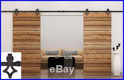 12FT Black Slide Sliding Barn Door Hardware Track Rail Hanger Double Door Kit E1