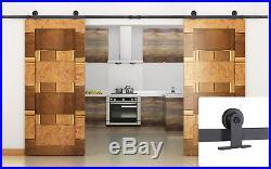 12FT Brown Modern European Style Barn Wooden Double Sliding Door Hardware Set