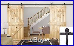 12FT Dark Coffee Modern Style Barn Wood Double Sliding Door Hardware Closet Set