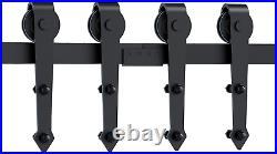 12FT Double Sliding Barn Door Hardware Track Kit For Wood Door Closet 12 Foot
