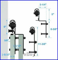 12FT One Track Bypass Sliding Barn Door Hardware Kit Low Ceiling For 2 Doors
