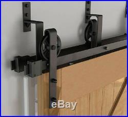 12FT Rustic Bypass Barn Door Hardware Sliding Track Kit 4 Doors Closet Black New