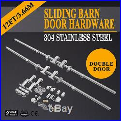 12FT Silver Bypass Country Sliding Barn Double Wood Door Hardware Closet Kit US