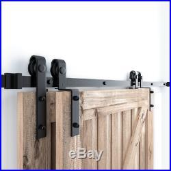 12FT Single Track Bypass Sliding Barn Door Hardware Kit Low Ceiling For 2 Doors