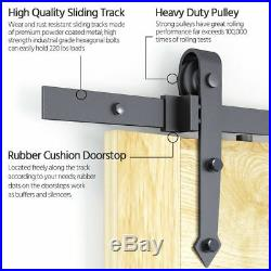 12FT Steel Sliding Barn Door Track Wood Closet Hardware Kit Set Single&Double
