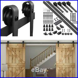 12ft Double Barn Wood Door Closet Rustic Arrow Sliding Hardware Roller Track Set
