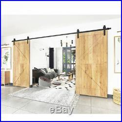 12ft J Shape Sliding Barn Door Hardware Kit for 13/8-13/4 Double Door-Door US