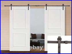 13FT Dark Coffee Steel Sliding Door Hardware Set with 2x36 Wide White Door Slabs
