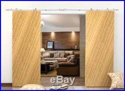 13 FT Stainless Steel Wood Interior Double Sliding Barn Door Hardware Track Set