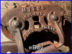1800s BARN DOOR ROLLERS, Atq Vtg Myers Cast Iron Rolling Sliding Wheel Hardware