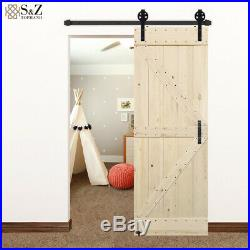 24/28/32/38/40/42in Unfinished Barn Door with Bigwheel Sliding Door Hardware Kit