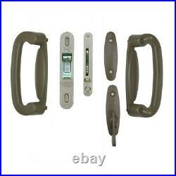 2 Panel Sliding Patio Door Handle Latch Lock Hardware Set Stone Security Plate