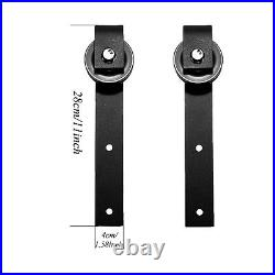 2 Rollers & 8FT Rails for Sliding Barn Door Hardware Hangers Kit for Wood Door