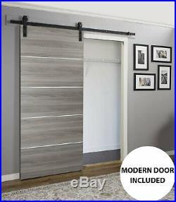 36 x 96 Sliding Barn Door with Hardware Planum 0020 Ginger Ash 6.6FT Rail