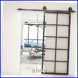 36x84'' DIY Aluminum Frame Sliding Barn Door Panel Clear Tempered Glass