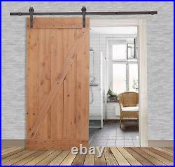 36x84 Knotty Alder Natural Primed Wood Barn Door and Sliding Wood Hardware Set