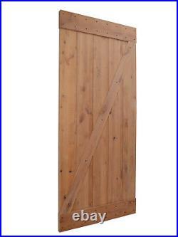 36x84 Natural Primed Knotty Alder Barn Door Interior and Sliding Hardware Set