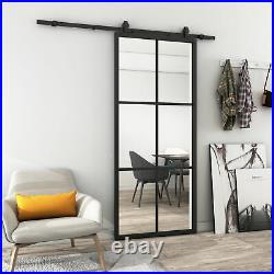 36x84 in Clear Glass Sliding Barn Door Aluminum Frame French Door & Hardware Kit