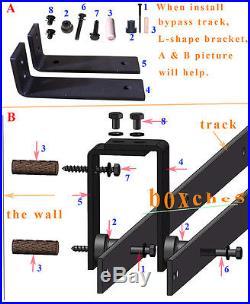3FT-16FT Single/Double/Bypass Sliding Barn Wood Door Closet Hardware Rail Kit