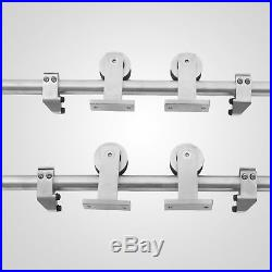 3.66m Double Sliding Barn Door Hardware Roller Set Track Kit 304 Stainless Steel