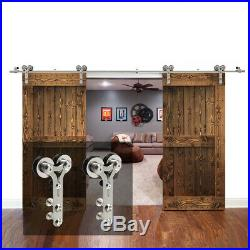 414FT Stainless Steel Sliding Barn Door Hardware Closet Track Kit Single/Double