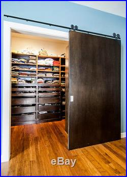 420FT Single/Double Sliding Wood Barn Door Hardware Closet Kit US Country