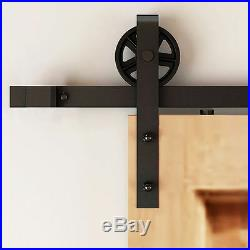 48FT Super Big Spoke Wheel Single Sliding Wood Barn Door Hardware Closet Kit