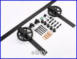 4FT20FT Big Strap Spoke Wheel Wood Sliding Barn Door Hardware Closet Single Kit