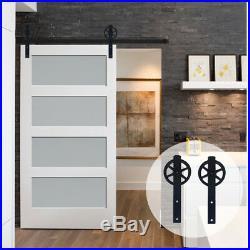 4FT20FT Big Strap Spoke Wheel Wood Sliding Barn Single Door Hardware Closet Kit