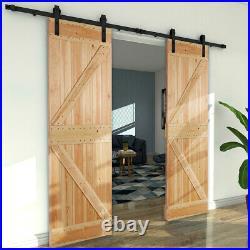 4FT-12FT Sliding Barn Door Hardware Track Kit For Wooden Double Closet Door