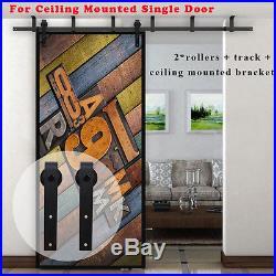 4FT-20FT Country Flat Style Steel Sliding Barn Door Hardware Track Slider Set US