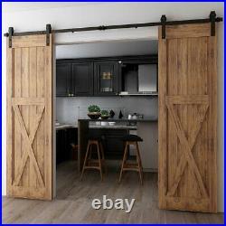4FT-20FT Sliding Barn Wood Door Hardware Closet Rail Kit For Single/Double Door