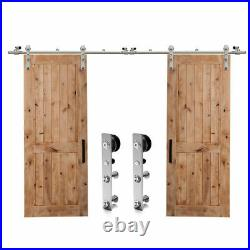 4FT-20FT Sliding Barn Wood Door Hardware Double Door Stainless Steel Rail Closet