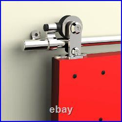 4FT-20FT Steel Sliding Barn Door Hardware Track Kit Single/Double, Silver Black